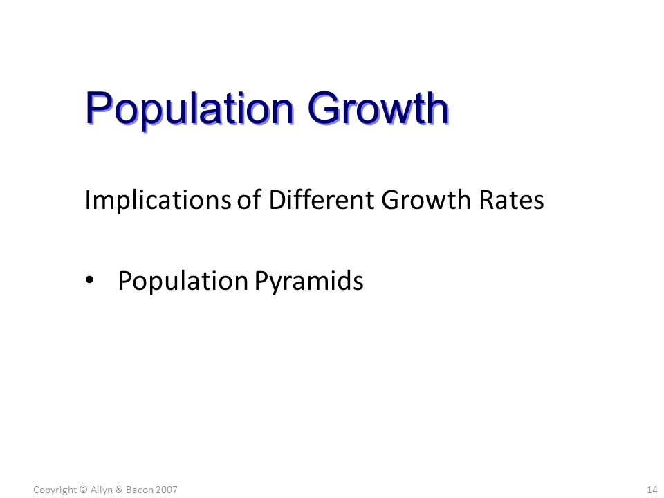 Implications of Different Growth Rates Population Pyramids Copyright © Allyn & Bacon 200714 Population Growth