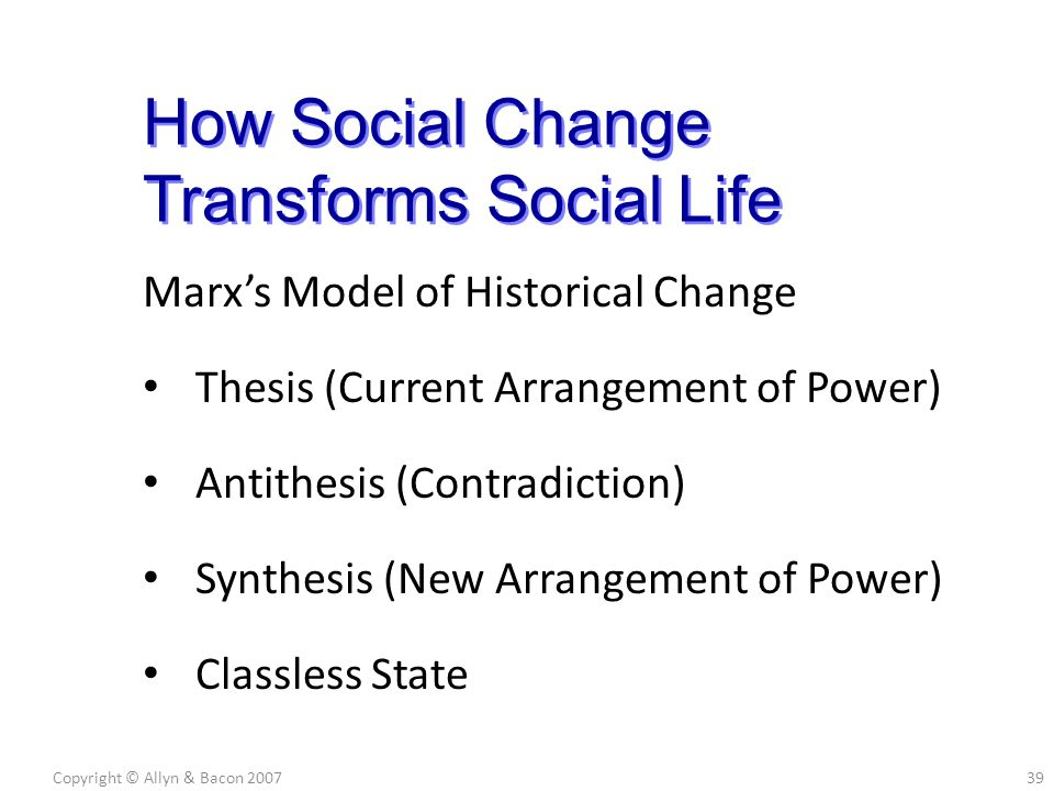 Marx's Model of Historical Change Thesis (Current Arrangement of Power) Antithesis (Contradiction) Synthesis (New Arrangement of Power) Classless Stat