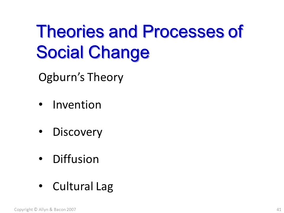 Ogburn's Theory Invention Discovery Diffusion Cultural Lag Copyright © Allyn & Bacon 200741 Theories and Processes of Social Change