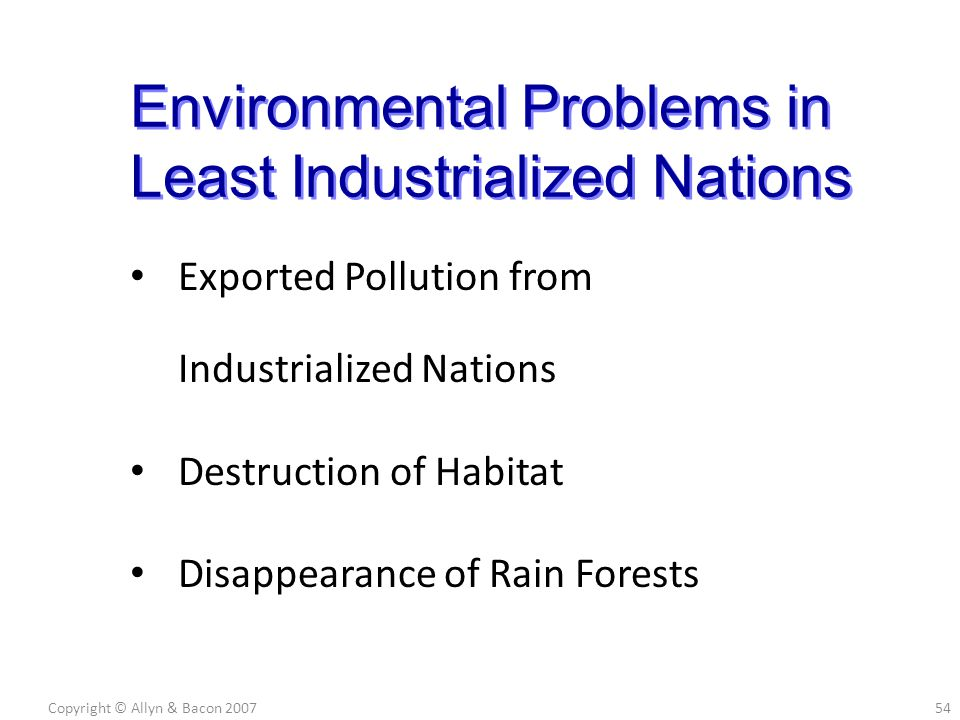 Exported Pollution from Industrialized Nations Destruction of Habitat Disappearance of Rain Forests Copyright © Allyn & Bacon 200754 Environmental Pro
