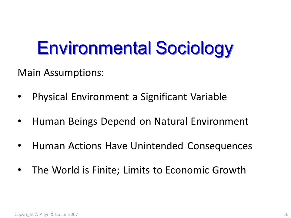 Main Assumptions: Physical Environment a Significant Variable Human Beings Depend on Natural Environment Human Actions Have Unintended Consequences The World is Finite; Limits to Economic Growth Copyright © Allyn & Bacon 200756 Environmental Sociology
