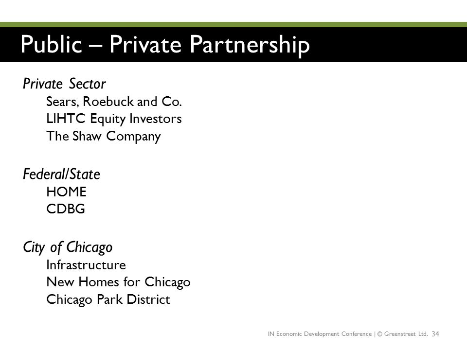 Public – Private Partnership 34 Private Sector Sears, Roebuck and Co. LIHTC Equity Investors The Shaw Company Federal/State HOME CDBG City of Chicago