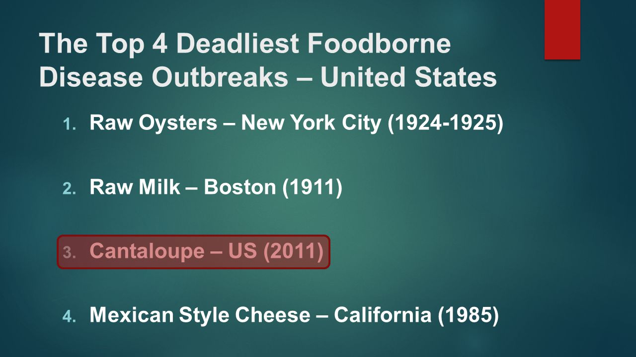 The Top 4 Deadliest Foodborne Disease Outbreaks – United States 1. Raw Oysters – New York City (1924-1925) 2. Raw Milk – Boston (1911) 3. Cantaloupe –