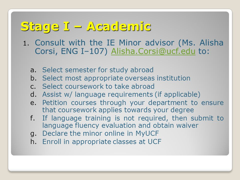 Stage I – Academic 1. Consult with the IE Minor advisor (Ms.
