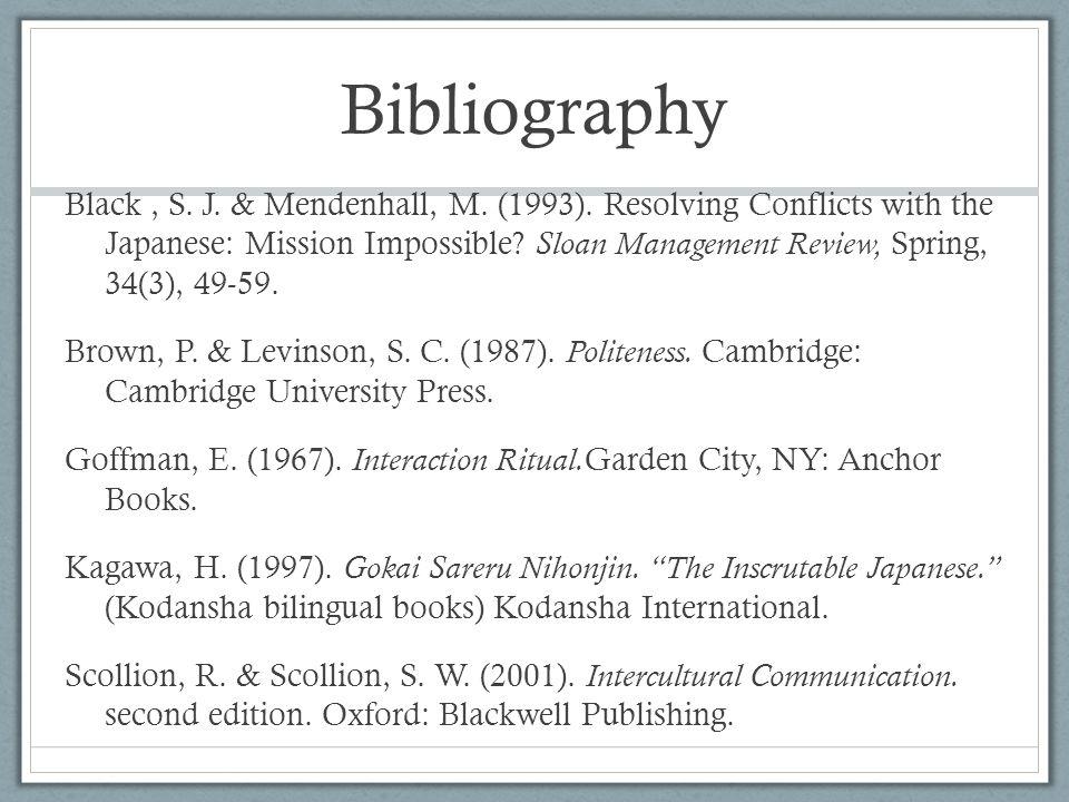 Bibliography Black, S. J. & Mendenhall, M. (1993).