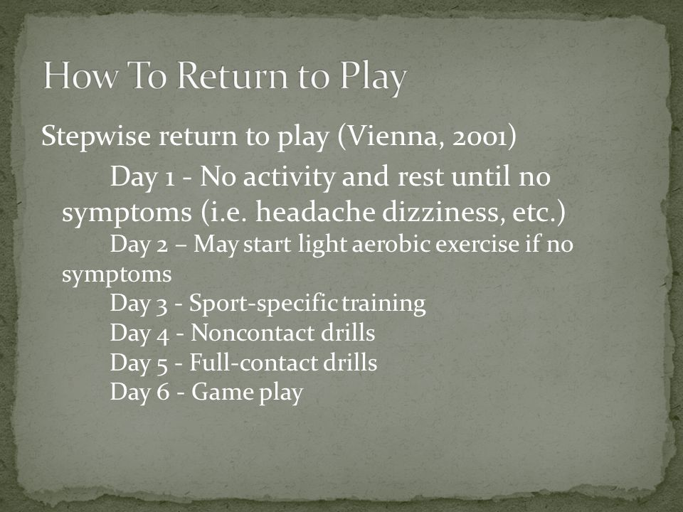 Stepwise return to play (Vienna, 2001) Day 1 - No activity and rest until no symptoms (i.e.