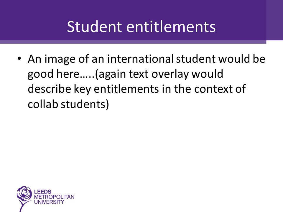 Student entitlements An image of an international student would be good here…..(again text overlay would describe key entitlements in the context of c