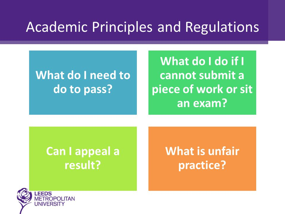 Academic Principles and Regulations What do I need to do to pass? What do I do if I cannot submit a piece of work or sit an exam? Can I appeal a resul
