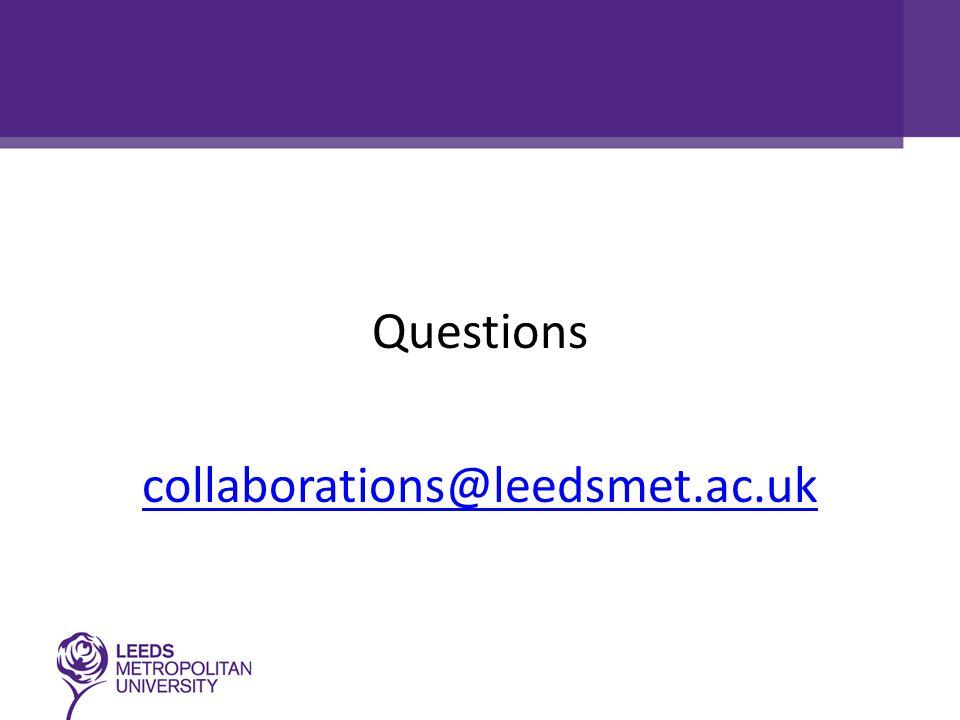 Questions collaborations@leedsmet.ac.uk