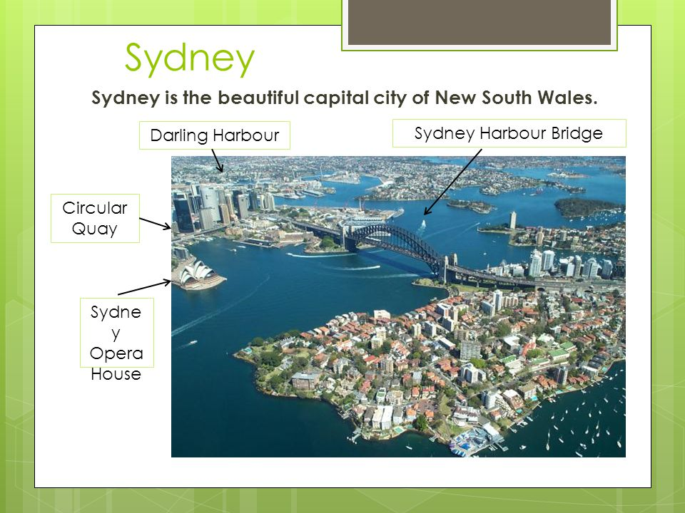 Sydney Sydney is the beautiful capital city of New South Wales.