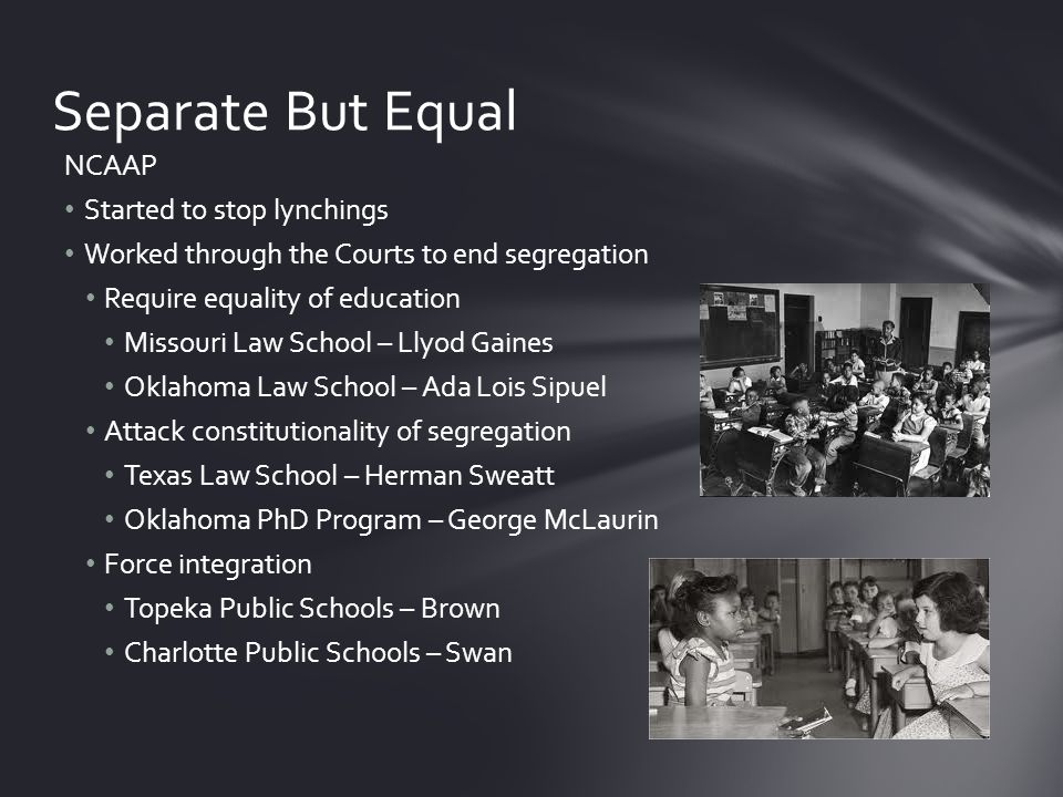 Unanimous opinion overturned Plessy 14 th Amendment not intended to abolish segregation Relied on social science, racist paradigm Segregation created a sense of inferiority Implementation Class action – similarly situated Done through local federal courts all deliberate speed Southern Manifesto – abuse of judicial power Resistance for decades Brown v.
