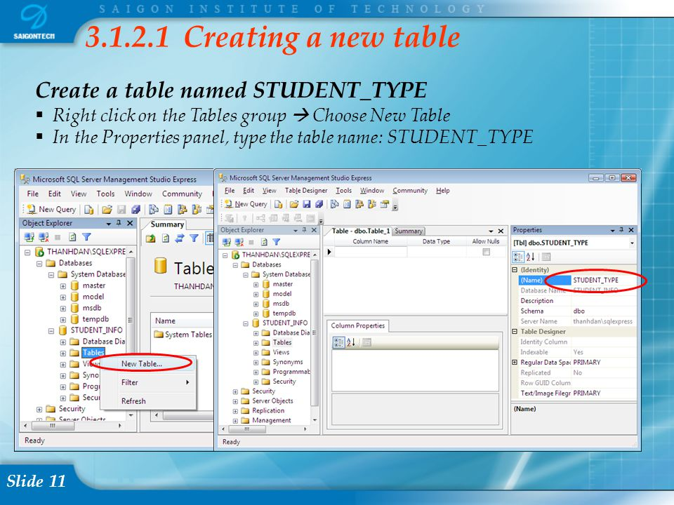 Slide 11 3.1.2.1 Creating a new table Create a table named STUDENT_TYPE  Right click on the Tables group  Choose New Table  In the Properties panel