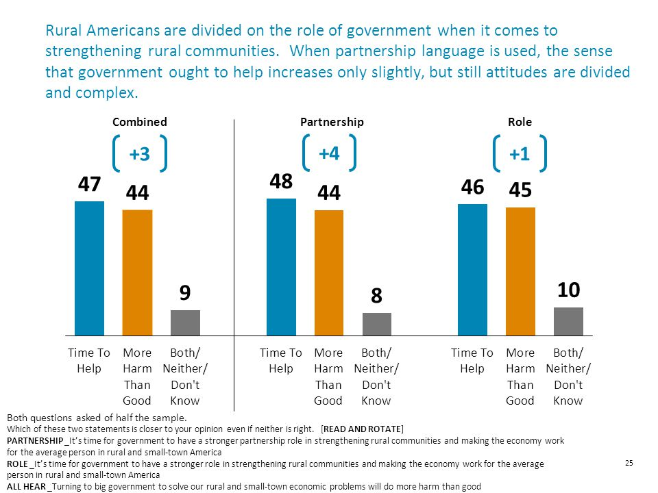 Rural Americans are divided on the role of government when it comes to strengthening rural communities.