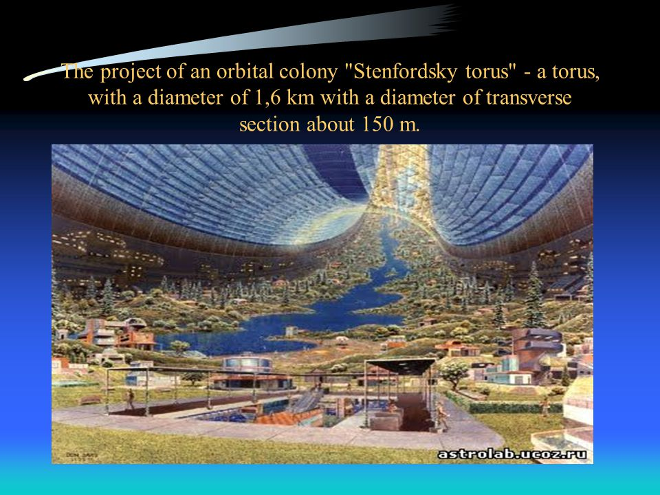 The project of an orbital colony Stenfordsky torus - a torus, with a diameter of 1,6 km with a diameter of transverse section about 150 m.