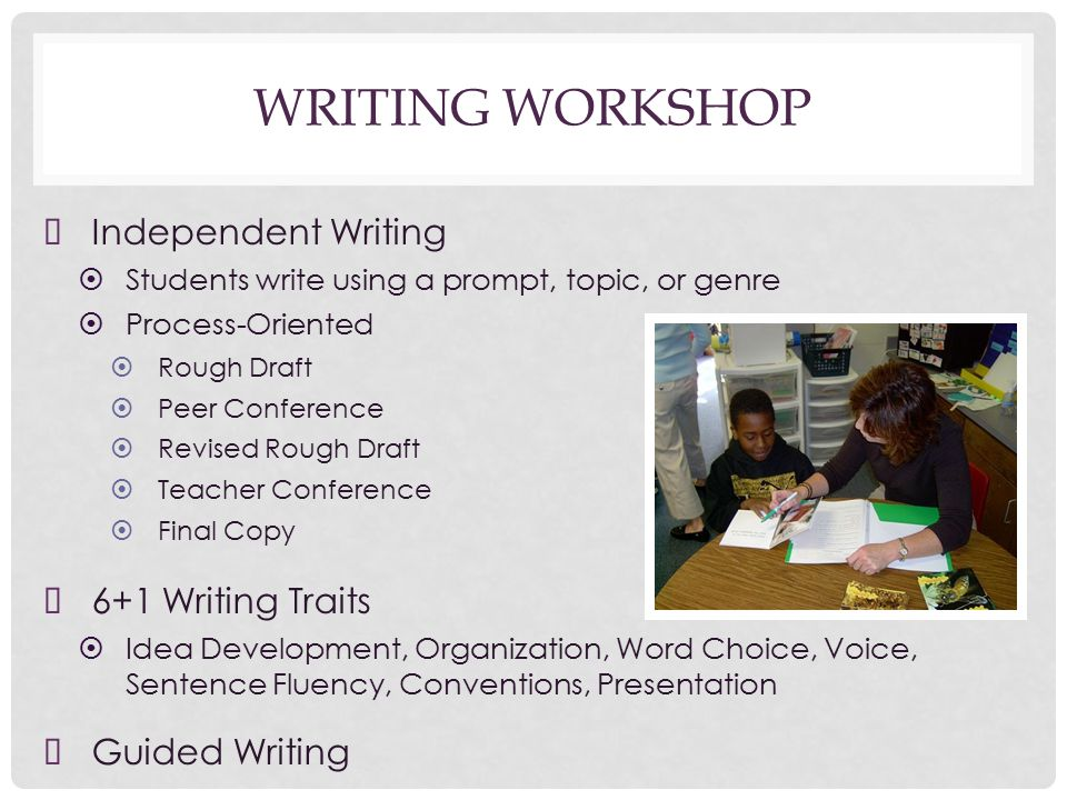 WRITING WORKSHOP ➤ Independent Writing ➤ Students write using a prompt, topic, or genre ➤ Process-Oriented ➤ Rough Draft ➤ Peer Conference ➤ Revised Rough Draft ➤ Teacher Conference ➤ Final Copy ➤ 6+1 Writing Traits ➤ Idea Development, Organization, Word Choice, Voice, Sentence Fluency, Conventions, Presentation ➤ Guided Writing