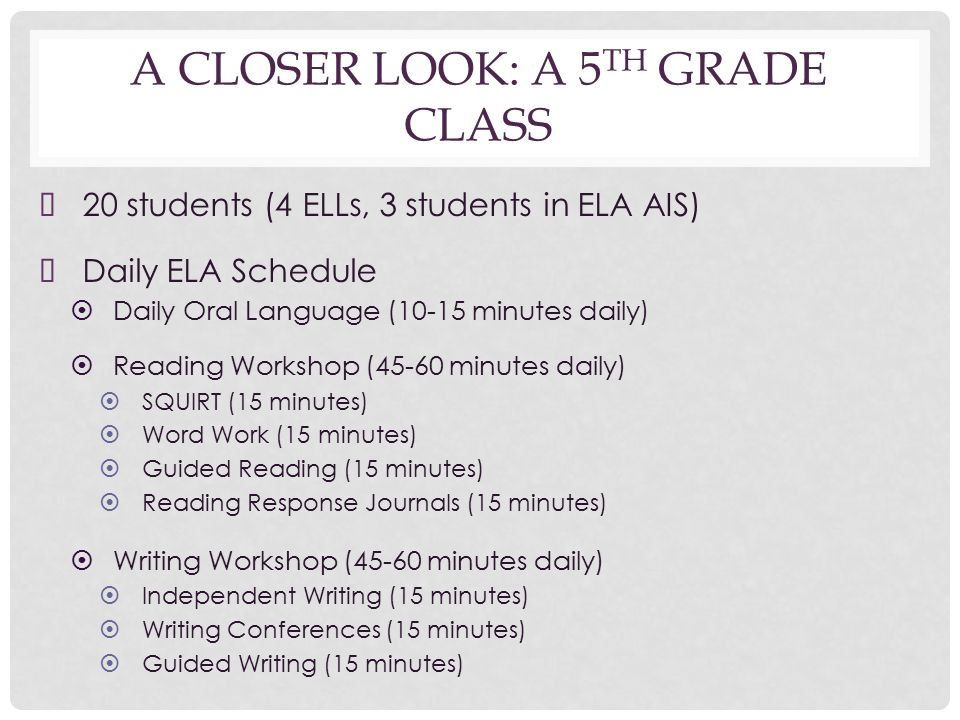 A CLOSER LOOK: A 5 TH GRADE CLASS ➤ 20 students (4 ELLs, 3 students in ELA AIS) ➤ Daily ELA Schedule ➤ Daily Oral Language (10-15 minutes daily) ➤ Reading Workshop (45-60 minutes daily) ➤ SQUIRT (15 minutes) ➤ Word Work (15 minutes) ➤ Guided Reading (15 minutes) ➤ Reading Response Journals (15 minutes) ➤ Writing Workshop (45-60 minutes daily) ➤ Independent Writing (15 minutes) ➤ Writing Conferences (15 minutes) ➤ Guided Writing (15 minutes)