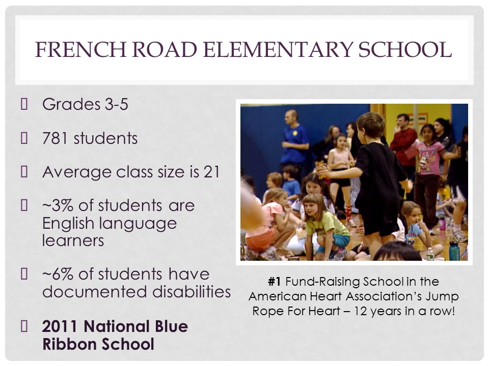 FRENCH ROAD ELEMENTARY SCHOOL ➤ Grades 3-5 ➤ 781 students ➤ Average class size is 21 ➤ ~3% of students are English language learners ➤ ~6% of students have documented disabilities ➤ 2011 National Blue Ribbon School #1 Fund-Raising School in the American Heart Association's Jump Rope For Heart – 12 years in a row!