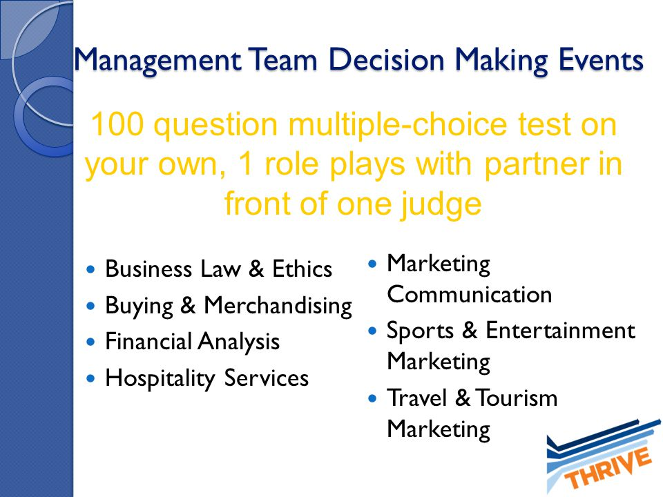 Management Team Decision Making Events Business Law & Ethics Buying & Merchandising Financial Analysis Hospitality Services Marketing Communication Sp