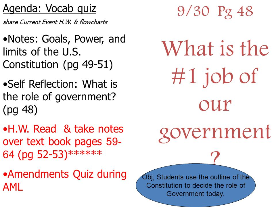 9/30 Pg 48 What is the #1 job of our government ? Agenda: Vocab quiz share Current Event H.W. & flowcharts Notes: Goals, Power, and limits of the U.S.