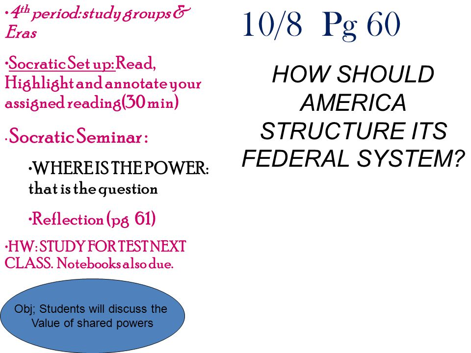 10/8 Pg 60 HOW SHOULD AMERICA STRUCTURE ITS FEDERAL SYSTEM? Obj; Students will discuss the Value of shared powers 4 th period: study groups & Eras Soc