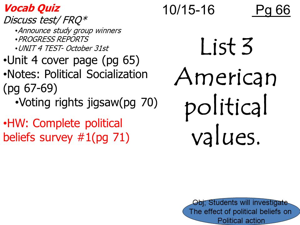 Vocab Quiz Discuss test/ FRQ* Announce study group winners PROGRESS REPORTS UNIT 4 TEST- October 31st Unit 4 cover page (pg 65) Notes: Political Socia