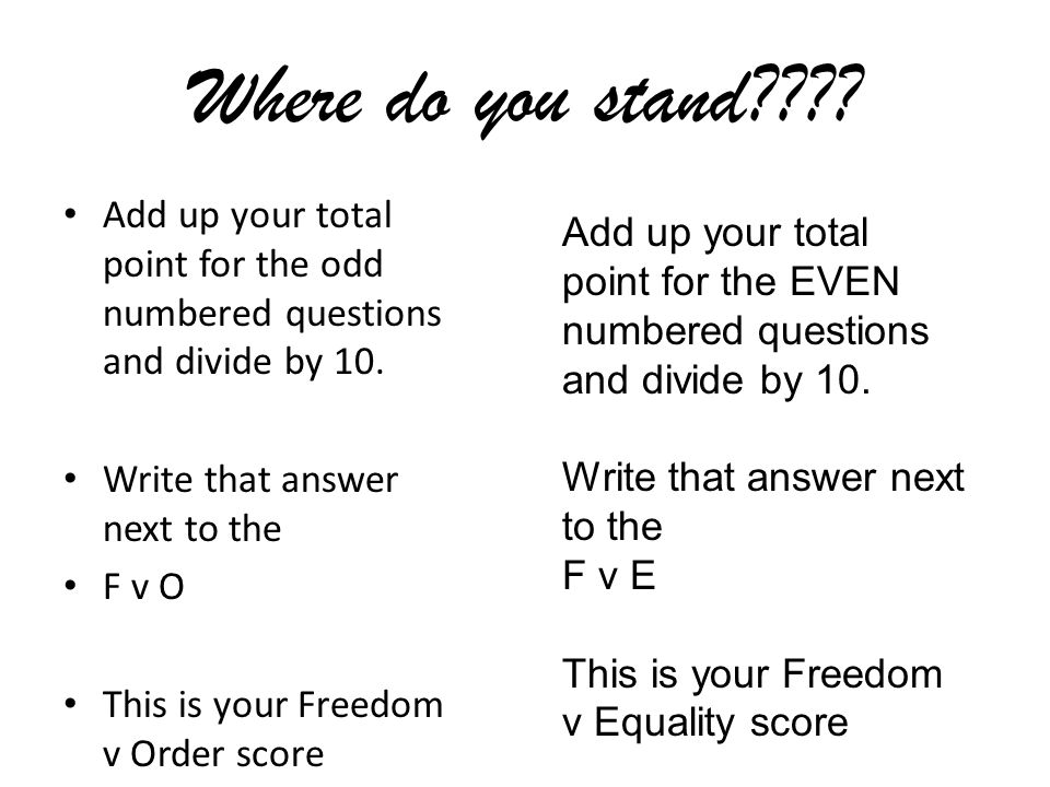 Where do you stand???? Add up your total point for the odd numbered questions and divide by 10. Write that answer next to the F v O This is your Freed