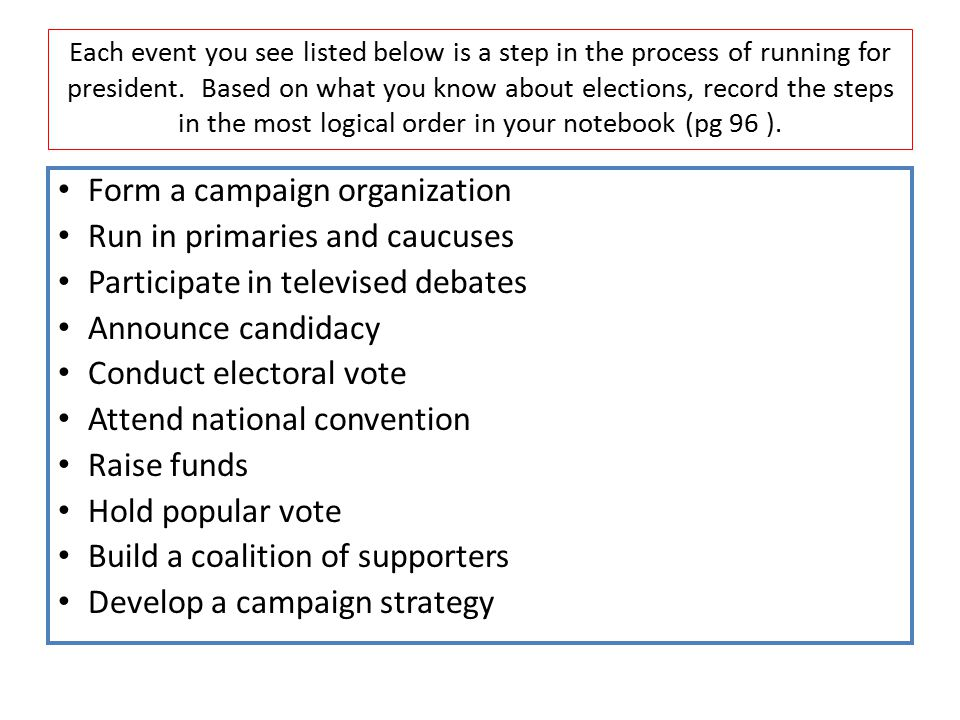 Each event you see listed below is a step in the process of running for president. Based on what you know about elections, record the steps in the mos