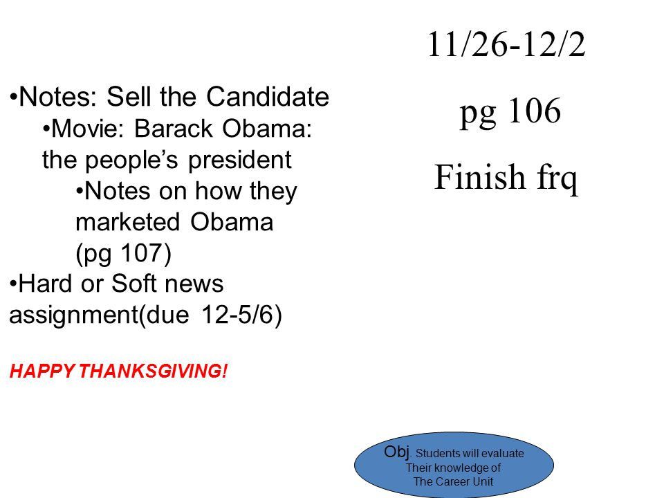 11/26-12/2 pg 106 Finish frq Notes: Sell the Candidate Movie: Barack Obama: the people's president Notes on how they marketed Obama (pg 107) Hard or S