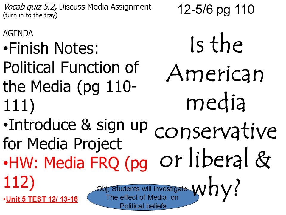 Vocab quiz 5.2, Discuss Media Assignment (turn in to the tray) AGENDA Finish Notes: Political Function of the Media (pg 110- 111) Introduce & sign up