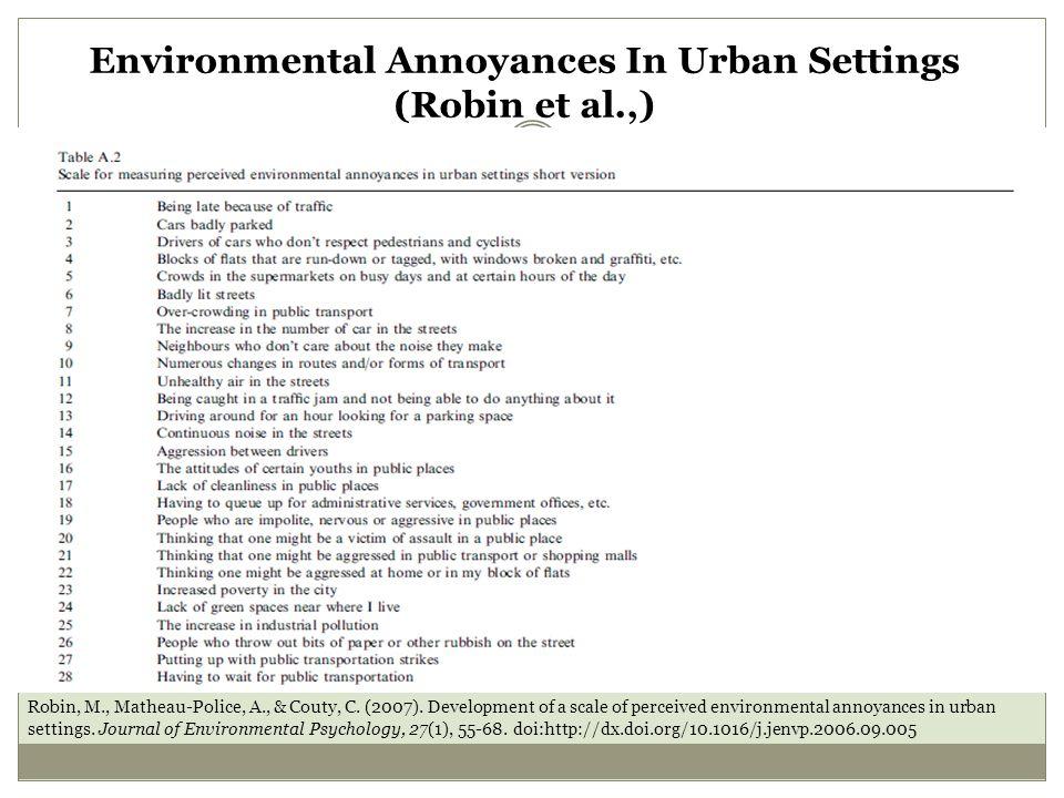 Environmental Annoyances In Urban Settings (Robin et al.,) Robin, M., Matheau-Police, A., & Couty, C.