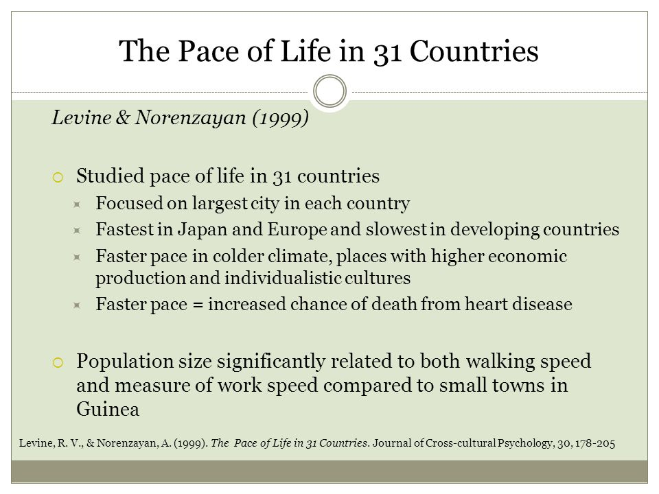 The Pace of Life in 31 Countries Levine & Norenzayan (1999)  Studied pace of life in 31 countries  Focused on largest city in each country  Fastest in Japan and Europe and slowest in developing countries  Faster pace in colder climate, places with higher economic production and individualistic cultures  Faster pace = increased chance of death from heart disease  Population size significantly related to both walking speed and measure of work speed compared to small towns in Guinea Levine, R.