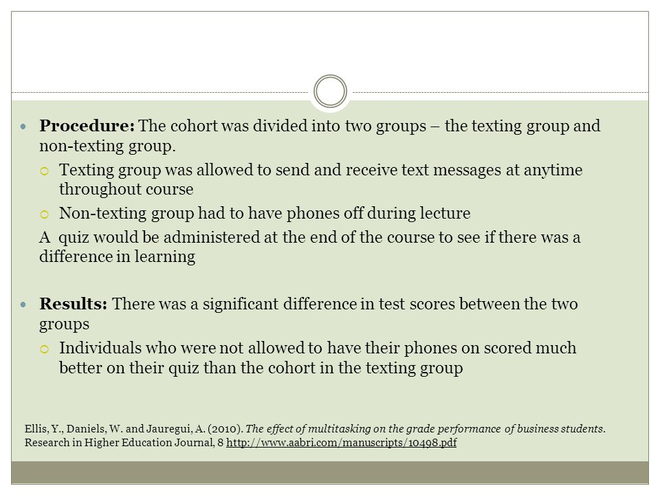 Procedure: The cohort was divided into two groups – the texting group and non-texting group.
