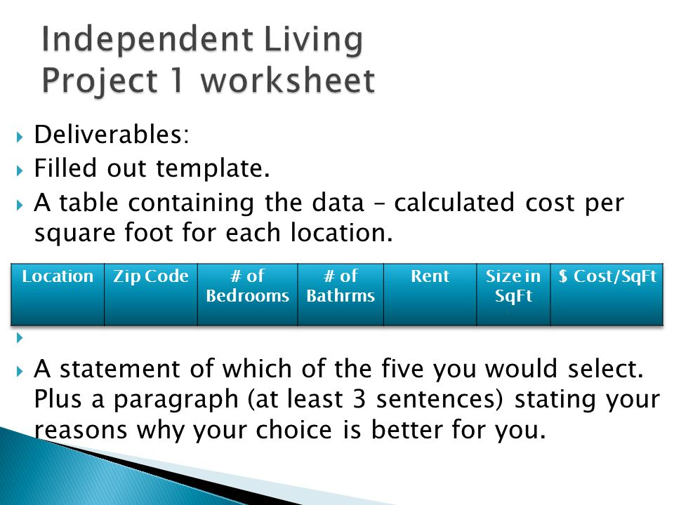  Deliverables:  Filled out template.