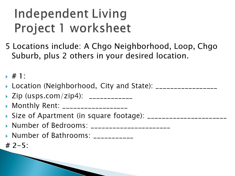 5 Locations include: A Chgo Neighborhood, Loop, Chgo Suburb, plus 2 others in your desired location.