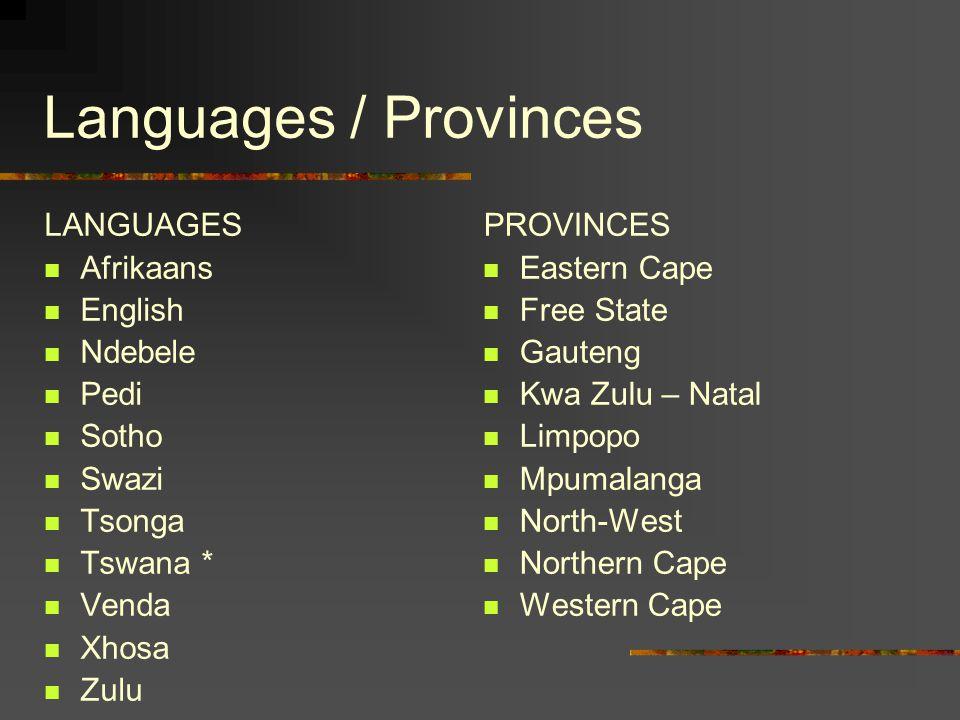 Languages / Provinces LANGUAGES Afrikaans English Ndebele Pedi Sotho Swazi Tsonga Tswana * Venda Xhosa Zulu PROVINCES Eastern Cape Free State Gauteng Kwa Zulu – Natal Limpopo Mpumalanga North-West Northern Cape Western Cape