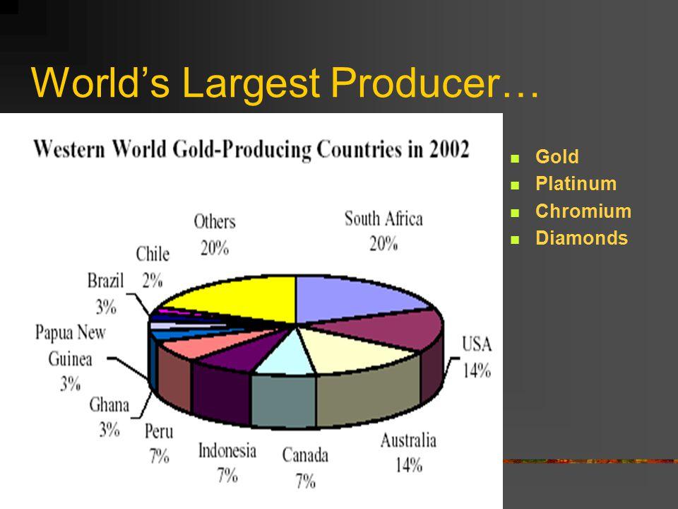 World's Largest Producer… Gold Platinum Chromium Diamonds