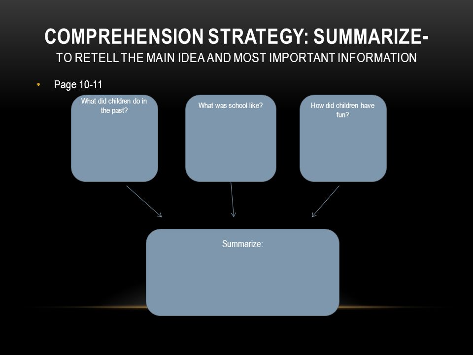 COMPREHENSION STRATEGY: SUMMARIZE - TO RETELL THE MAIN IDEA AND MOST IMPORTANT INFORMATION Page 8-9 In the past, it took a long time to go places beca