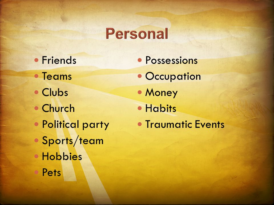 Friends Teams Clubs Church Political party Sports/team Hobbies Pets Possessions Occupation Money Habits Traumatic Events
