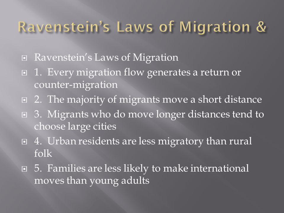  Ravenstein's Laws of Migration  1.