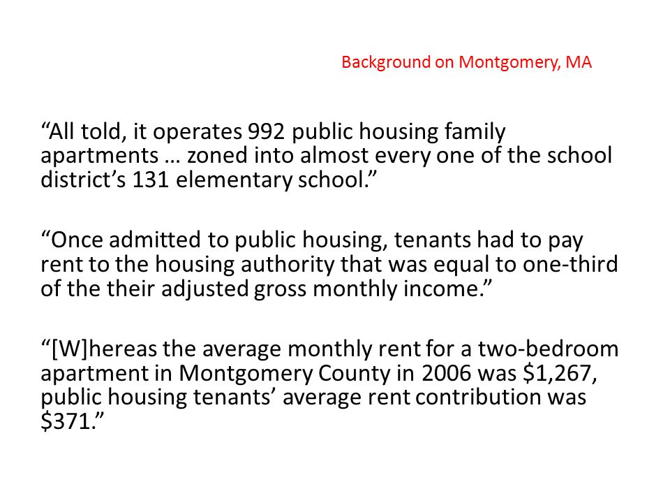 Compared to other housing authorities nationally, Montgomery County's Housing Opportunities Commission placed an unusual focus on deconcentrating poverty over the past thirty years by eschewing large-scale public housing projects in favor of placing scattered-site public housing units and two- or three-story family developments throughout the county's many neighborhoods.