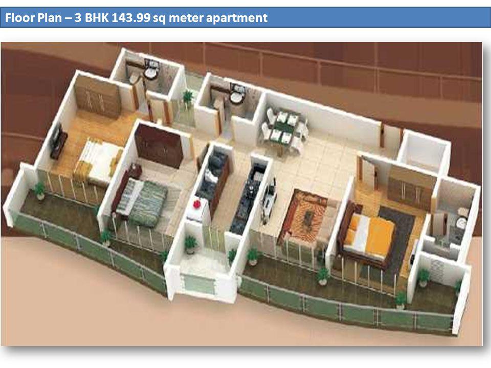 Floor Plan – 3 BHK 143.99 sq meter apartment