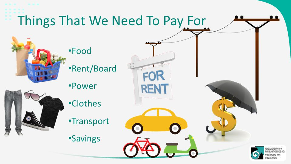 Things That We Need To Pay For Food Rent/Board Power Clothes Transport Savings