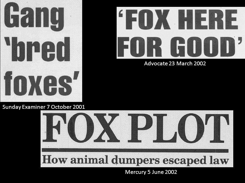 Advocate 14 August 2003 Mercury 28 September 2001 Mercury 23 August 2001 Examiner 17 July 2001