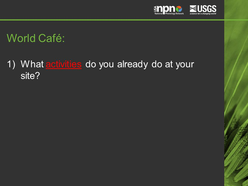 World Café: 1)What activities do you already do at your site?