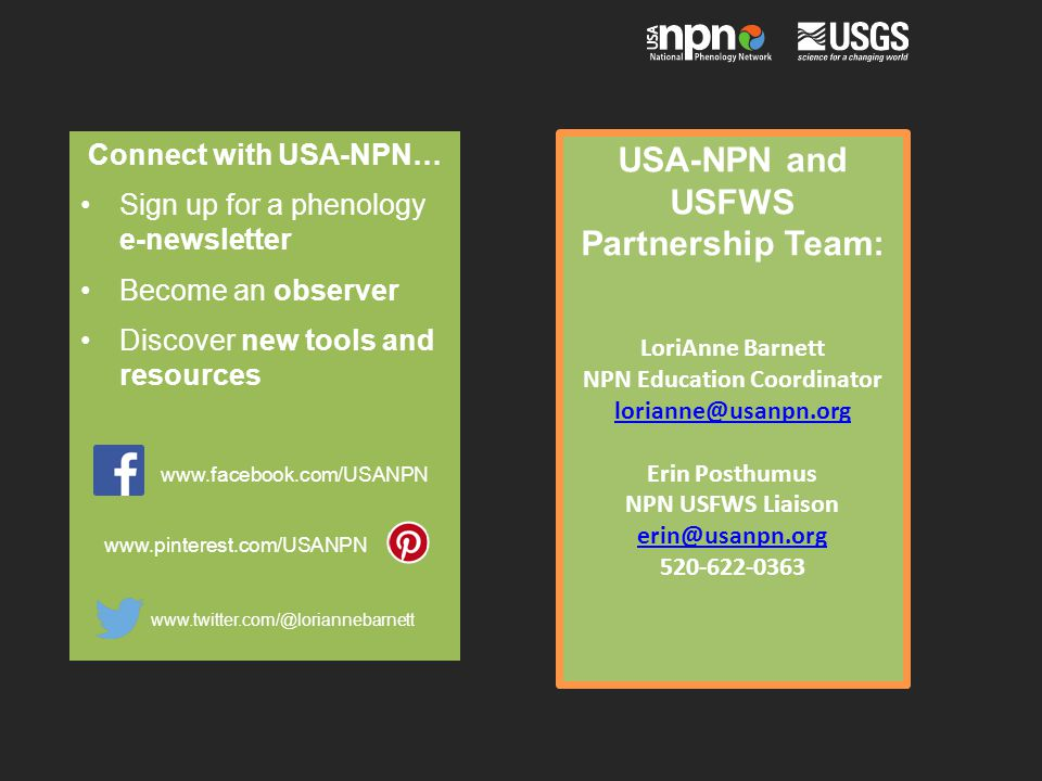 Connect with USA-NPN… Sign up for a phenology e-newsletter Become an observer Discover new tools and resources www.facebook.com/USANPN www.pinterest.com/USANPN www.twitter.com/@loriannebarnett USA-NPN and USFWS Partnership Team: LoriAnne Barnett NPN Education Coordinator lorianne@usanpn.org Erin Posthumus NPN USFWS Liaison erin@usanpn.org 520-622-0363