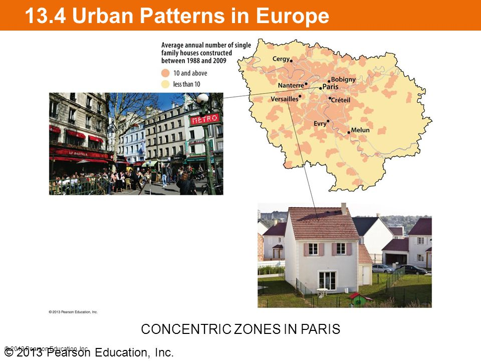 13.4 Urban Patterns in Europe Multiple nuclei model in European cities Contain many persons of color and recently arrived immigrants © 2013 Pearson Education, Inc.