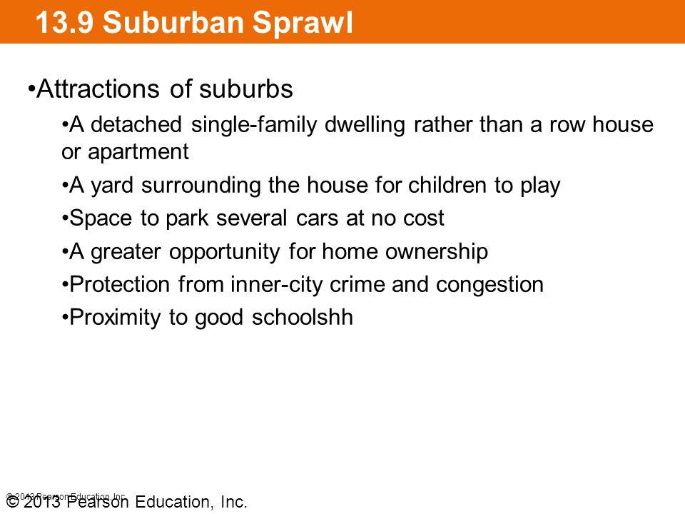 13.9 Suburban Sprawl The costs of sprawl Roads and utilities must be extended Higher fuel consumption Loss of agricultural land Other sites lie fallow while speculators await Local governments typically spend more on services for these new developments © 2013 Pearson Education, Inc.