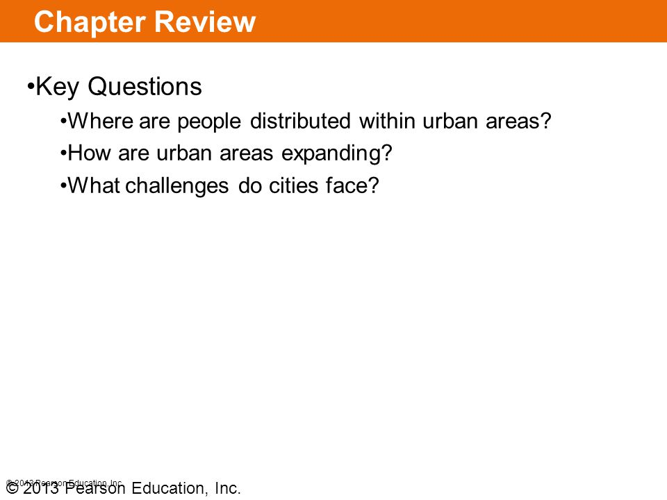 Chapter Review Key Questions Where are people distributed within urban areas.