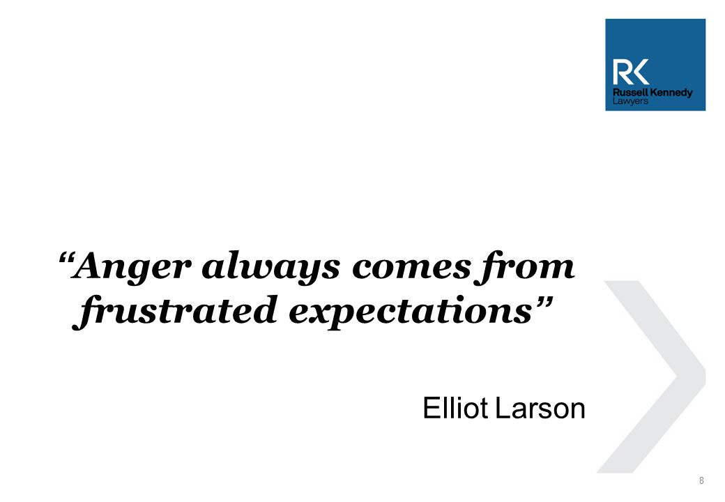 Anger always comes from frustrated expectations Elliot Larson 8
