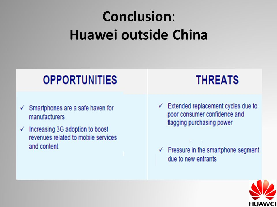 Sources http://en.wikipedia.org/wiki/Huawei http://www.huawei.com/fr/catalog.do?id=51 http://edissertations.nottingham.ac.uk/195/1/06MAlixwh8.pdf http://support.huawei.com http://support.huawei.com www.huaweidevice.com/ www.huaweidevice.com/ http://com.chinabyte.com/huawei/ http://com.chinabyte.com/huawei/ http://www.globrand.com/brands/huawei/ http://www.globrand.com/brands/huawei/ www.pointgphone.com/test-huawei-u8230-9262 www.pointgphone.com/test-huawei-u8230-9262 www.mobiles-actus.com/test/huawei/ www.mobiles-actus.com/test/huawei/ www.journaldunet.com/.../060904-huawei-technologies.shtml www.journaldunet.com/.../060904-huawei-technologies.shtml
